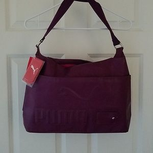 Puma gym bag tote purple shiny PVC NWT HOT!